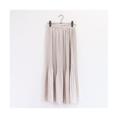 (RM STORE/アールエムストア)キュプラライク☆ビンテージサテン プリーツスカート/レディース オフホワイト