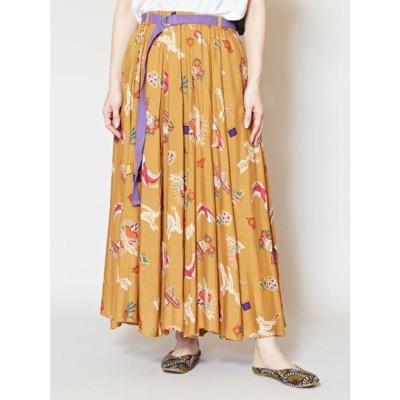 【チャイハネ】メキシカン柄ロングスカート キャメル