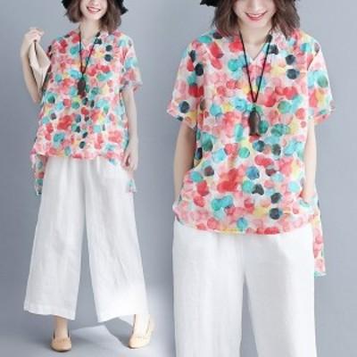 カットソー Tシャツ レディース ブラウス 綿麻 半袖 水玉 ドット ルーズ 体型カバー チュニック 春夏 Good Clothes