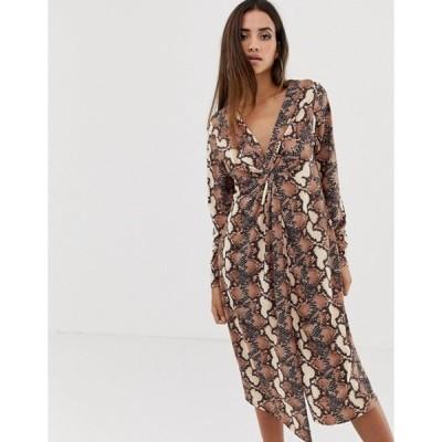 エイソス レディース ワンピース トップス ASOS DESIGN relaxed long sleeve midi dress with knot front in snake print