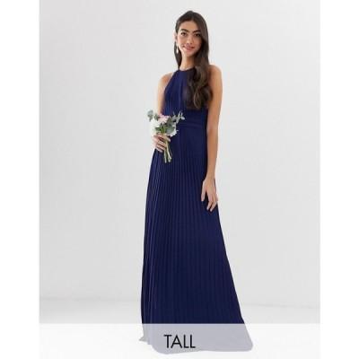 ティー エフ エヌシー TFNC Tall レディース ワンピース ワンピース・ドレス bridesmaid exclusive high neck pleated maxi dress in navy Navy