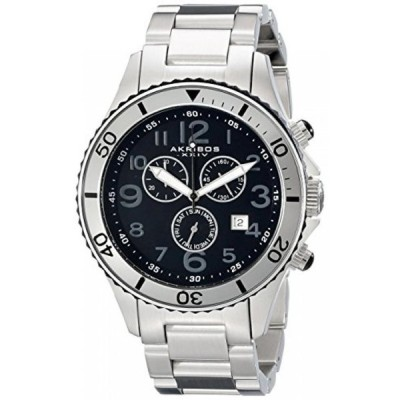 アクリボス XXIV 腕時計 メンズウォッチ Akribos XXIV Men's AK616SS Ultimate Swiss Chronograph Black and Stainless Steel Bracelet Watch