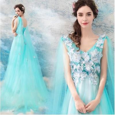 カラードレス 二次会 パーティードレス ロングドレス 花嫁 ウェディングドレス 結婚式 演奏会 ウエディングドレス シンデレラ ドレス 大きいサイズ