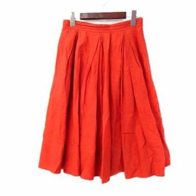 【中古】エリオポール heliopole スカート 38 M オレンジ リネン混 ミモレ 無地 シンプル レディース