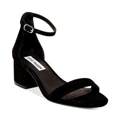 スティーブ マデン パンプス シューズ レディース Women's Irenee Two-Piece Block-Heel Sandals Black Suede