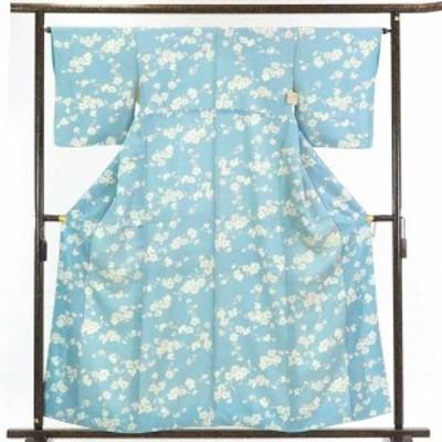 【中古】リサイクル着物 小紋 / 正絹薄ブルー地花柄袷小紋着物 / レディース【裄Mサイズ】