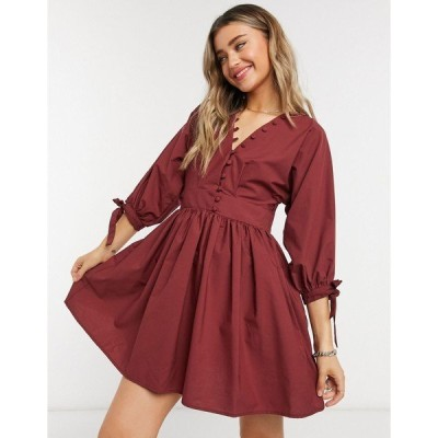 エイソス レディース ワンピース トップス ASOS DESIGN cotton poplin button detail mini smock dress with tie sleeves in oxblood Oxblood
