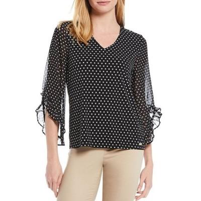 カルバンクライン レディース Tシャツ トップス Dot Print Matte Jersey V-Neck 3/4 Chiffon Ruffle Sleeve Top