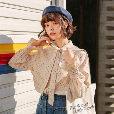 襟リボン バルーン袖 フェミニン ドット柄 シャツ アンプレラスリーブ 袖コンシャス 長袖 かわいい トップス 秋 冬