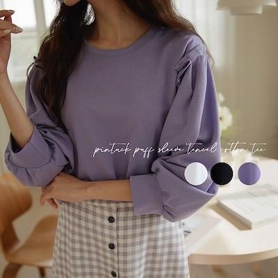 [韓国ファッション]パフスリーブテンセルTシャツ