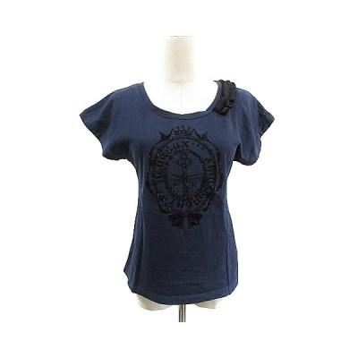 【中古】エプローヴ Eprouve Tシャツ カットソー 半袖 リボン プリント M 紺 ネイビー /AAM5 レディース 【ベクトル 古着】