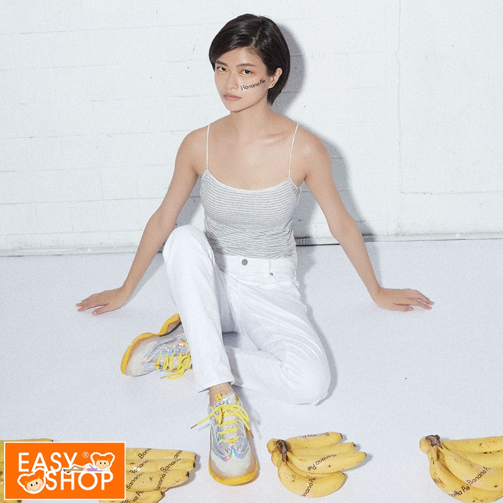 【EASY SHOP】Banana Pie-嘸駕派-棉質細帶長版BRA-T-條紋灰