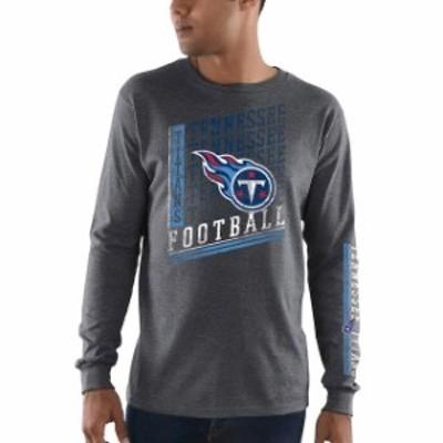 Majestic マジェスティック スポーツ用品  Majestic Tennessee Titans Heathered Charcoal Dual Threat Long Sleeve T-Shi