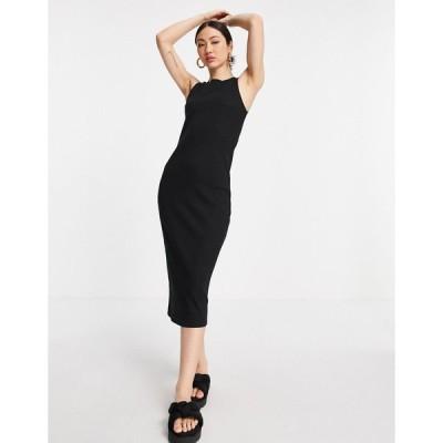 ヴェロモーダ ミディドレス レディース Vero Moda Aware racer neck midi dress in black エイソス ASOS ブラック 黒