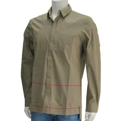 国内正規品 モノビ MONOBI カーキ オーバーシャツ DEMOB スナップボタンの長袖テクニカルコットンポプリン メンズ Men's
