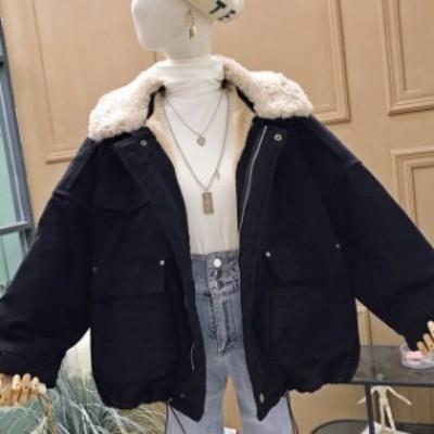 送料無料 アウター 裏ボア ジャケットレディース 韓国 ファッション レディース 秋冬 アウター レディース 襟ボア メンズライク くすみカ