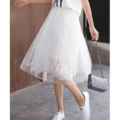 (miniministore/ミニミニストア)花柄レーススカート レディース メッシュスカート ロング 裏地付き 透け感 フレアスカート ウエストゴム 可愛い Aラインスカート/レディース ホワイト