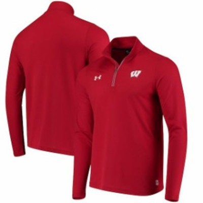 Under Armour アンダー アーマー スポーツ用品  Under Armour Wisconsin Badgers Red Threadborne Microthread Quarter-Zip Pullover Jac