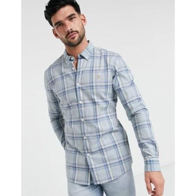 ファーラー メンズ シャツ トップス Farah check slim long sleeve shirt Blue