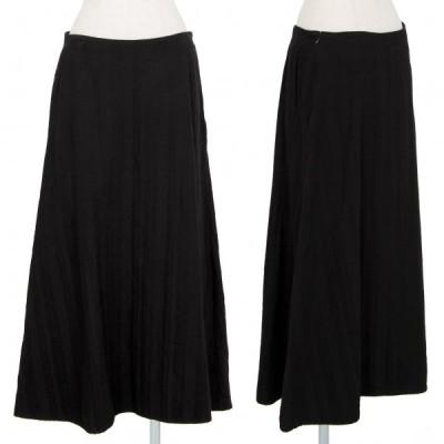 リミフゥLIMI feu 混紡コットンストライプAラインスカート 黒S 【レディース】