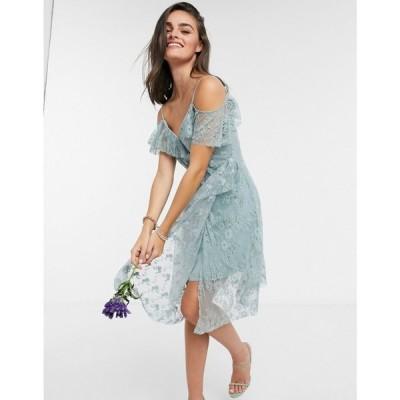 フレンチコネクション French Connection レディース ワンピース ノースリーブ Sleeveless Bridesmaid Dress in Silver Blue シルバーブルー