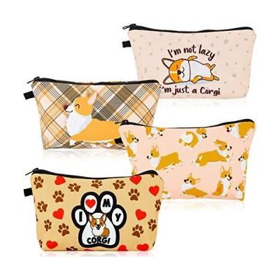 おもしろコーギー犬メイクアップバッグ 旅行用小型コーギーコスメティックバッグ コーギーポーチ ハンドバッグ オーガナイザー 現金 小銭入れ 多機能洗面