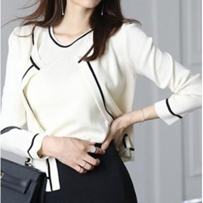 2021年新作 送料無料 アンサンブル ニット カーディガンとノースリーブ ライン配色 韓国ファッション