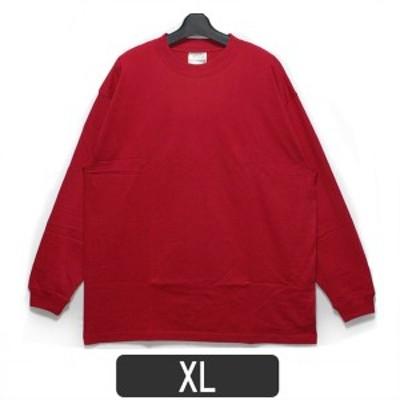 メンズ 無地 長袖 Tシャツ m0168 長袖Tシャツ レッド XL メンズ 紳士 長袖 長T 綿100% 無地 赤 zs010 yob1911 1000円 ポッキリ