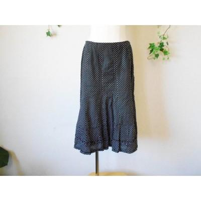 インゲボルグ INGEBORG 裾 フリル 使用 水玉 プリント 膝丈 スカート