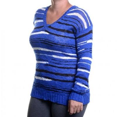 ケンジー レディース セーター(プルオーバー型) Kensie Long-Sleeve V-Neck Striped Sweater Size XS