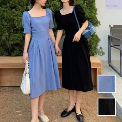 韓国 ファッション レディース ワンピース 春 夏 カジュアル naloK424  デコルテ見せ クロスデザイン パフスリーブ シンプル コーデ 定番