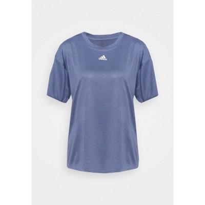 アディダス シャツ レディース トップス 3 STRIPES DESIGNED4TRAINING AEROREADY - Print T-shirt - orbit violet