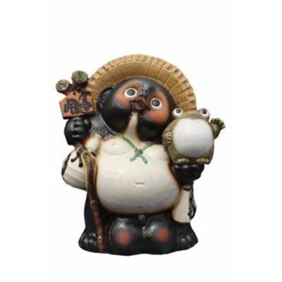 福蛙付狸20号 信楽焼 たぬき 陶器 狸 置物 タヌキ 彩り屋