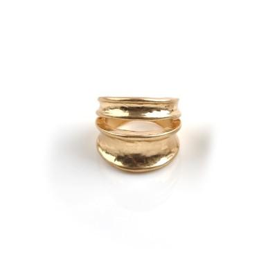 【Creamdot.】ヴィンテージライクな、2連風ワイドメタルリング 指輪(リング)