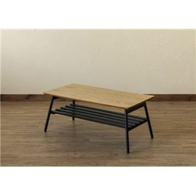 棚付き折れ脚テーブル/折りたたみローテーブル 【幅80cm オーク】 棚板取り外し可 『Luster』 木目調 【完成品】【代引不可】