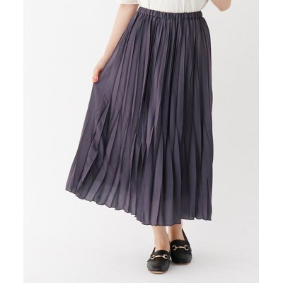 THE SHOP TK/ザ ショップ ティーケー サテンプリーツスカート/ONSTYLE チャコールグレー(014) 13(L)