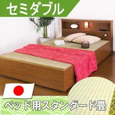 友澤木工 棚照明引出付畳ベッド セミダブル SD ブラウン 1台(直送品)