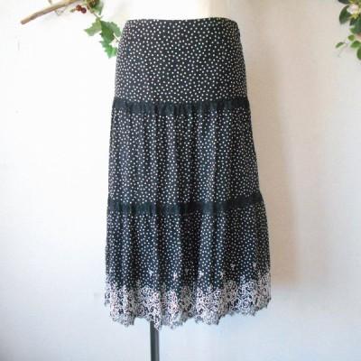 レストローズ LEST ROSE カットワーク 刺繍 の 可愛い 水玉 柄 スカート 日本製 2