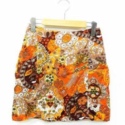 【中古】未使用品 Banner Barrett スカート ボトムス ミニ丈 台形 花柄 バックファスナー オレンジ系 36 レディース