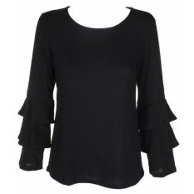 Skin スキン ファッション トップス Style & Co Skin Black Deep Boat Neck Ruffled-Sleeve Top XS