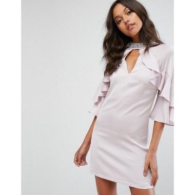 リプシー レディース ワンピース トップス Lipsy Embellished Ruffle Satin Shift Dress Pink