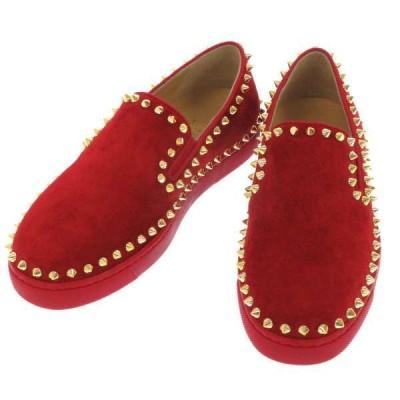 クリスチャンルブタン スリッポン Pik Boat レディースサイズ34 1/2 3160709 Christian Louboutin 靴 スタッズ 赤