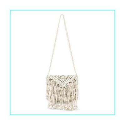 【新品】QTKJ Women's Crochet Crossbody Bag Hand-Woven Boho Tassels Summer Beach Cotton Shoulder Bag with Zipper (White)(並行輸入品)
