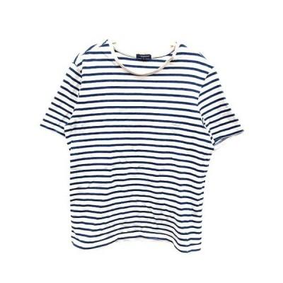 【中古】アーバンリサーチ URBAN RESEARCH Tシャツ ボーダー 半袖 40 青 ブルー 白 ホワイト /YK レディース【ベクトル 古着】