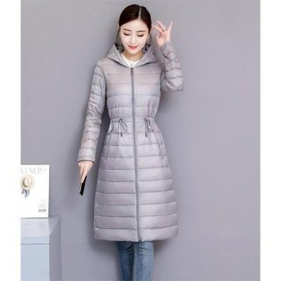 レディースダウンコート軽量ロングダウンコートロングダウンジャケットスリムフードアウター着痩せ暖かい冬20代防寒服40代