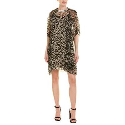 アナスイ レディース ワンピース トップス Anna Sui Leopard Silk Shift Dress ivory multicolor