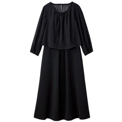 【ぽっちゃりさんサイズ】フォーマルワンピース(ブラックフォーマル)/ブラック/23ABR