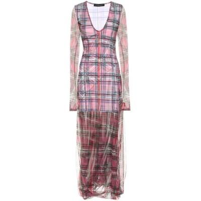 ワイプロジェクト Y/PROJECT レディース ワンピース ワンピース・ドレス checked stretch-cotton dress pink check