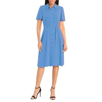 ドナモーガン レディース ワンピース トップス Pintuck Detail Midi Shirt Dress BLUE