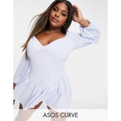 エイソス レディース ワンピース トップス ASOS DESIGN Curve corset drop waist skater mini dress in gingham print Multi